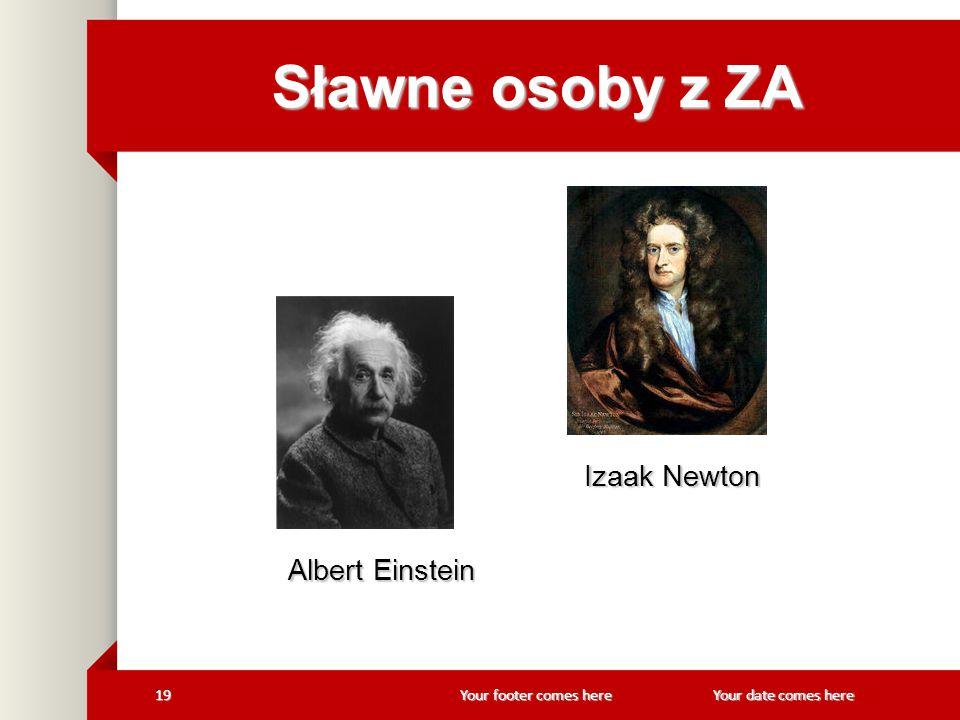 Your footer comes here 19Your date comes here Sławne osoby z ZA Izaak Newton Izaak Newton Albert Einstein