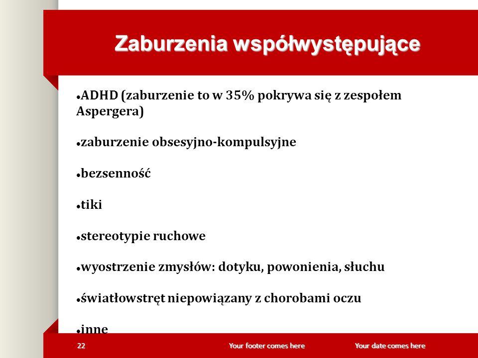 Your footer comes here 22Your date comes here Zaburzenia współwystępujące ADHD (zaburzenie to w 35% pokrywa się z zespołem Aspergera) zaburzenie obses
