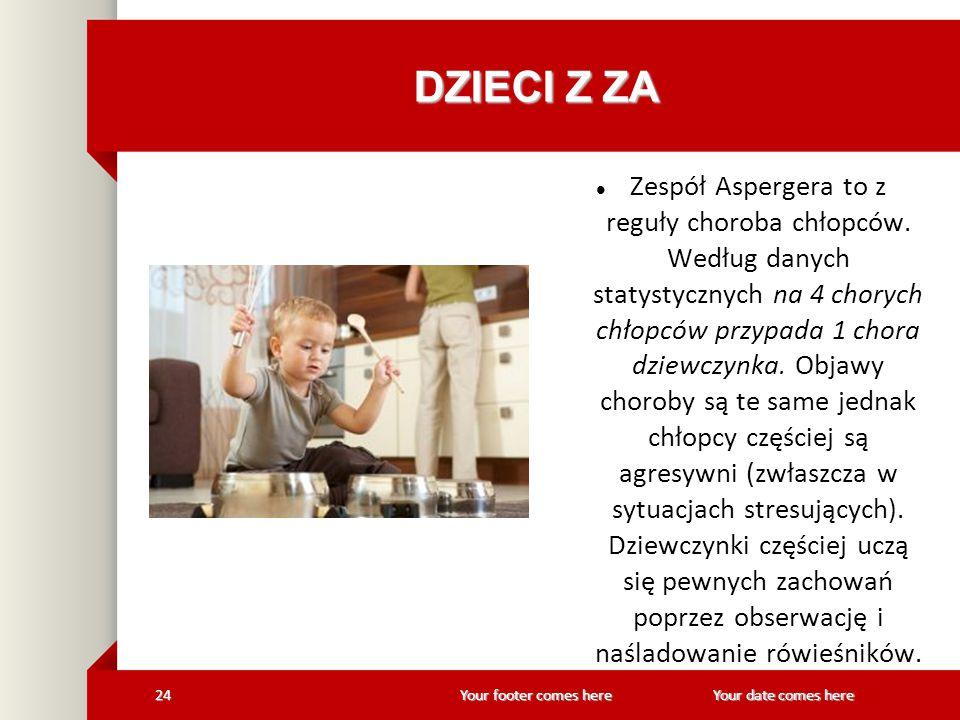 Your footer comes here 24Your date comes here DZIECI Z ZA Zespół Aspergera to z reguły choroba chłopców. Według danych statystycznych na 4 chorych chł