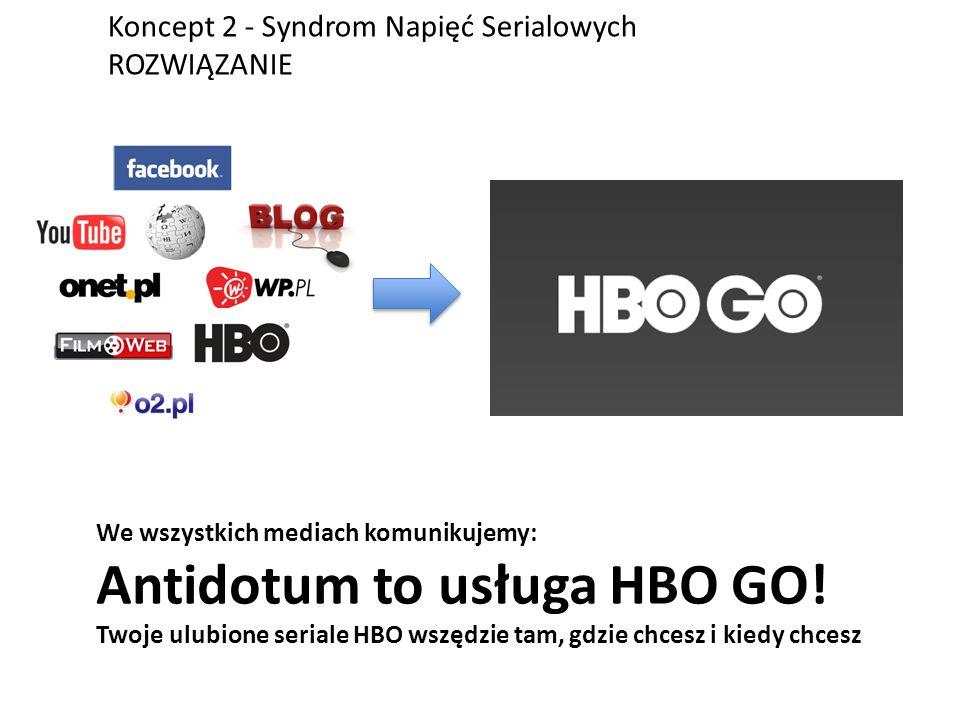 Koncept 2 - Syndrom Napięć Serialowych ROZWIĄZANIE We wszystkich mediach komunikujemy: Antidotum to usługa HBO GO.
