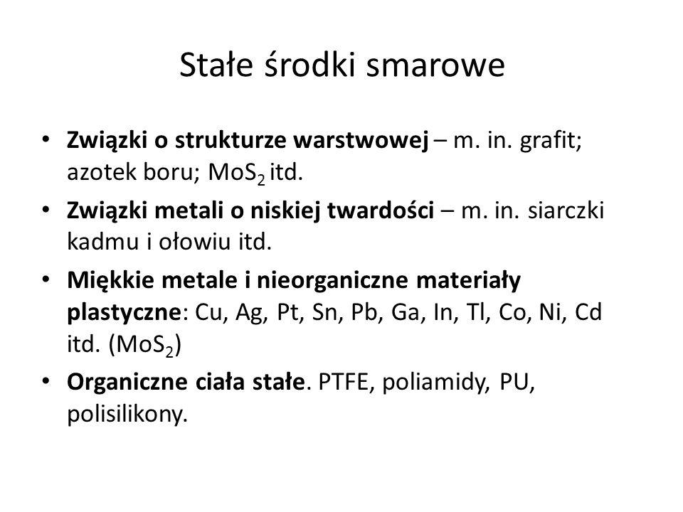 Stałe środki smarowe Związki o strukturze warstwowej – m. in. grafit; azotek boru; MoS 2 itd. Związki metali o niskiej twardości – m. in. siarczki kad