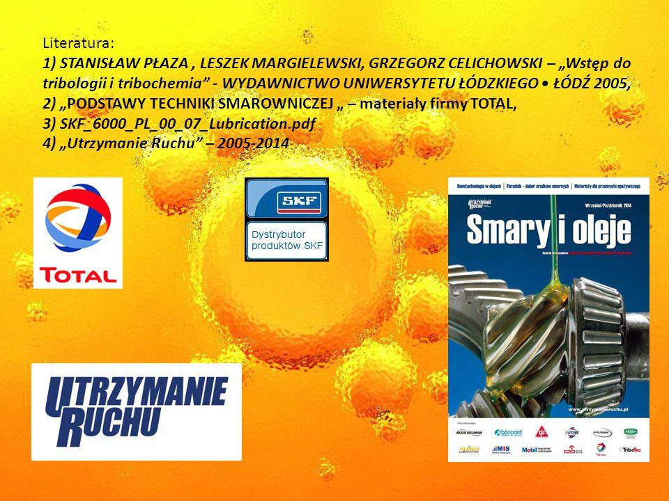 """Literatura: 1) STANISŁAW PŁAZA, LESZEK MARGIELEWSKI, GRZEGORZ CELICHOWSKI – """"Wstęp do tribologii i tribochemia - WYDAWNICTWO UNIWERSYTETU ŁÓDZKIEGO ŁÓDŹ 2005, 2) """"PODSTAWY TECHNIKI SMAROWNICZEJ """" – materiały firmy TOTAL, 3) SKF_6000_PL_00_07_Lubrication.pdf 4) """"Utrzymanie Ruchu – 2005-2014"""