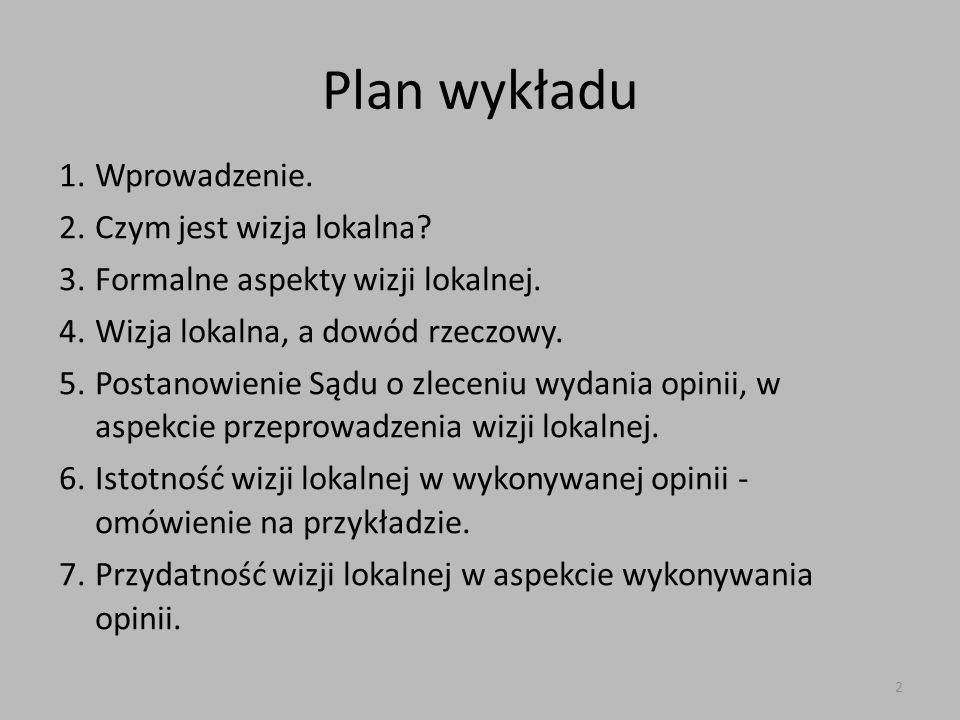 Plan wykładu 1.Wprowadzenie.2.Czym jest wizja lokalna.
