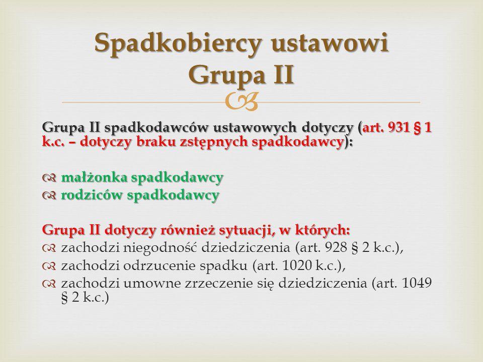  Grupa II spadkodawców ustawowych dotyczy (art.931 § 1 k.c.