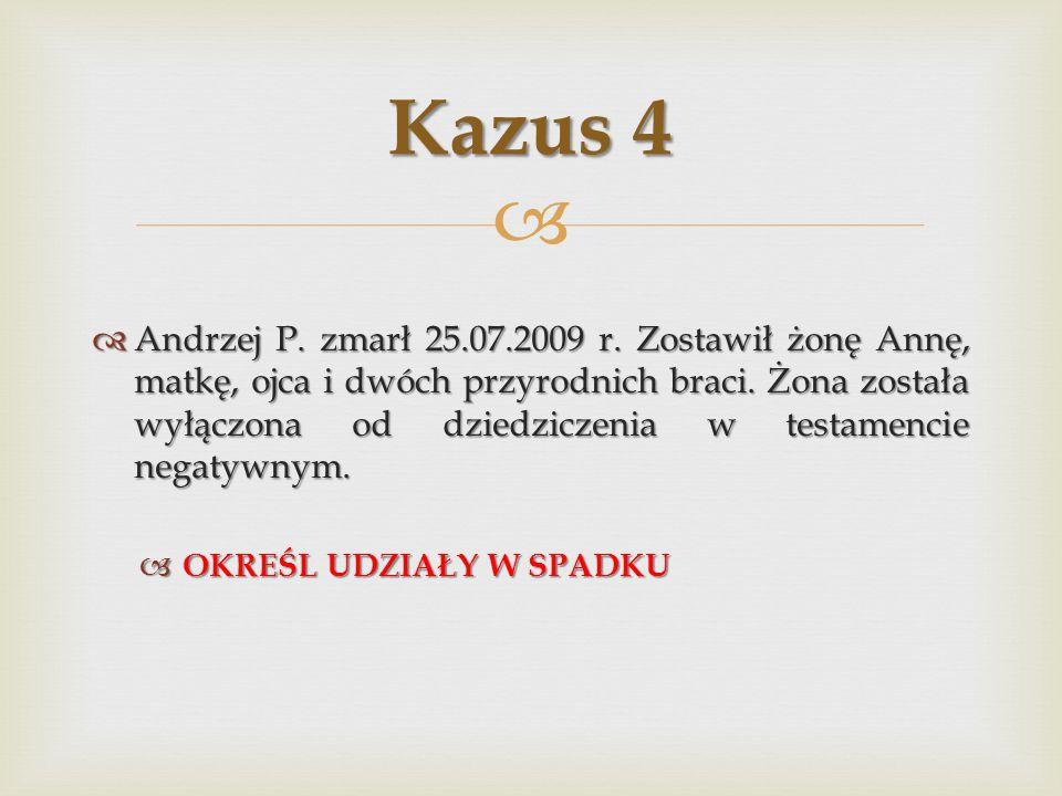   Andrzej P.zmarł 25.07.2009 r. Zostawił żonę Annę, matkę, ojca i dwóch przyrodnich braci.