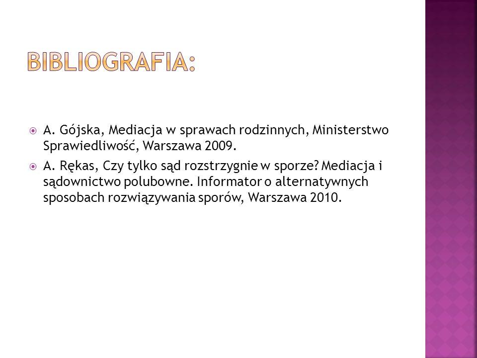  A. Gójska, Mediacja w sprawach rodzinnych, Ministerstwo Sprawiedliwość, Warszawa 2009.  A. Rękas, Czy tylko sąd rozstrzygnie w sporze? Mediacja i s