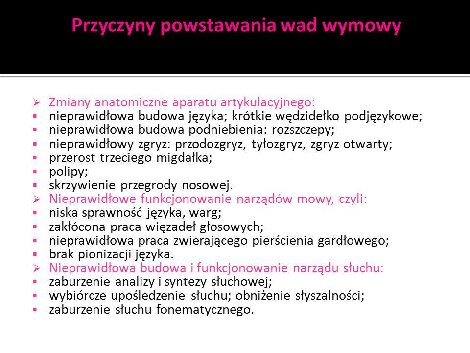  Wykorzystuje się do tego materiał językowy zawierający pary głosek, sylab opozycyjnych ( np.