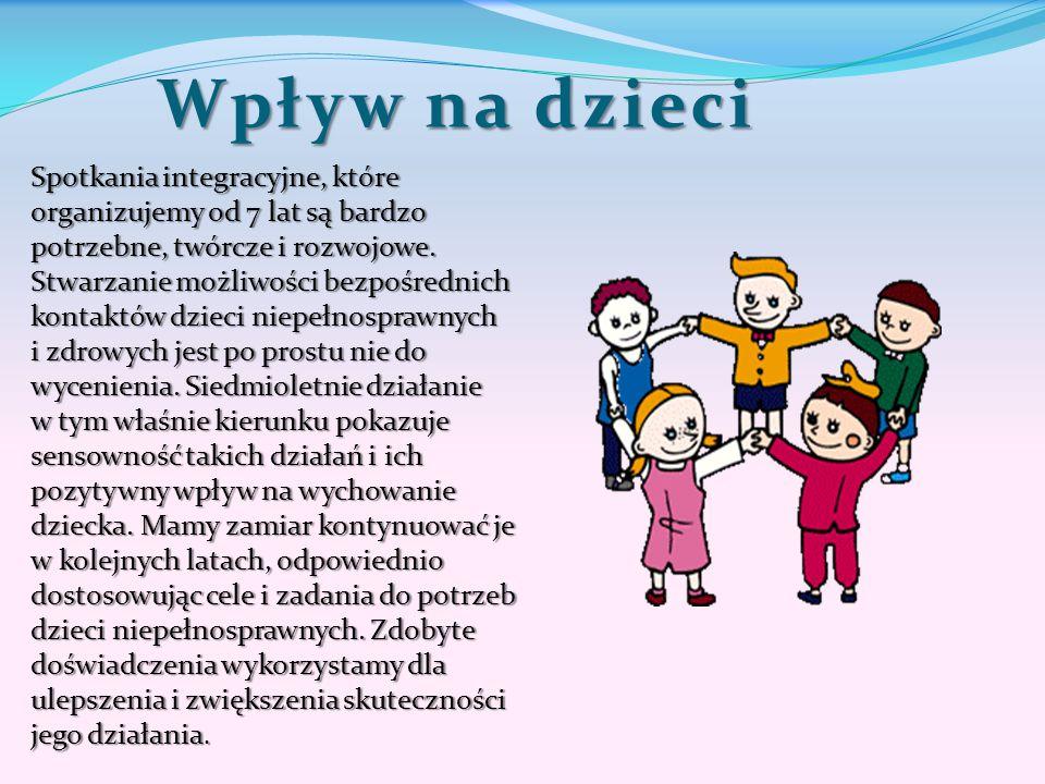 Wpływ na dzieci Spotkania integracyjne, które organizujemy od 7 lat są bardzo potrzebne, twórcze i rozwojowe. Stwarzanie możliwości bezpośrednich kont