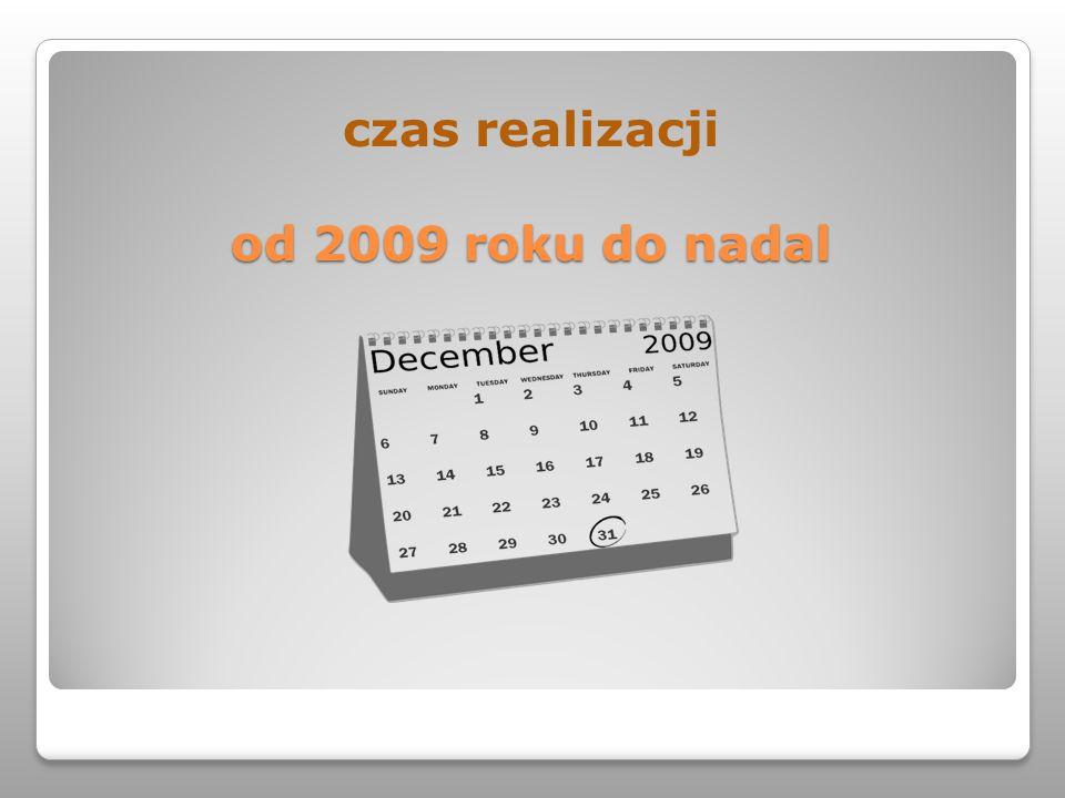 od 2009 roku do nadal czas realizacji od 2009 roku do nadal