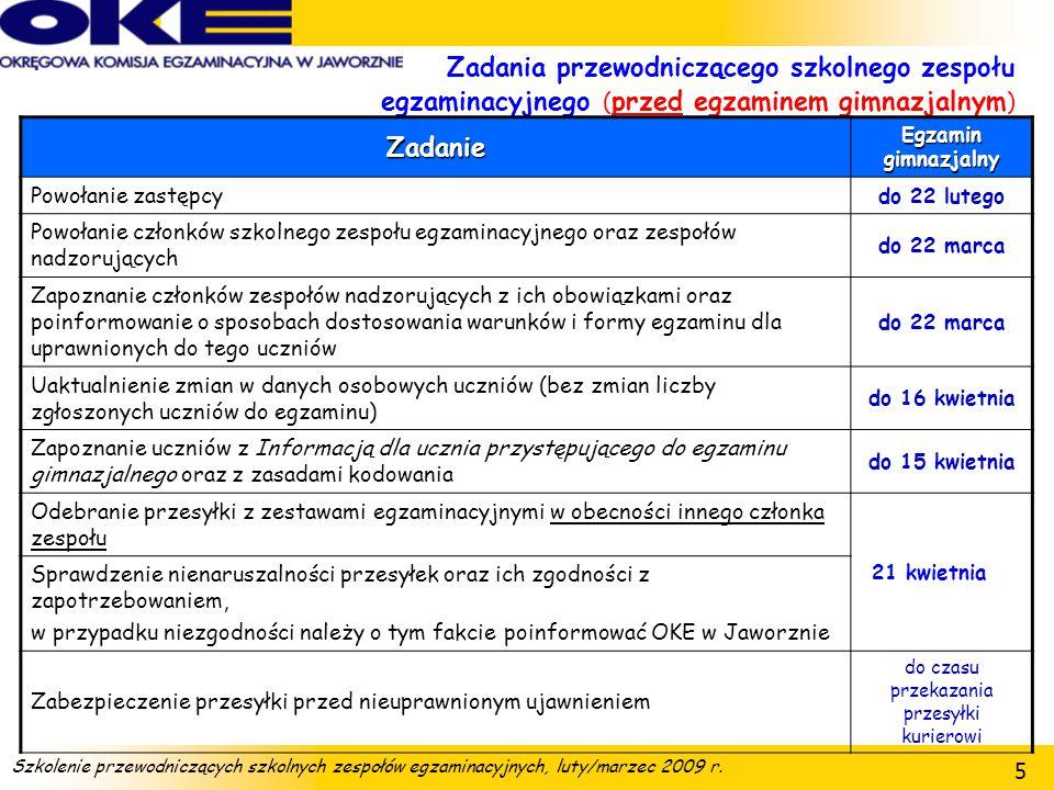 Szkolenie przewodniczących szkolnych zespołów egzaminacyjnych, luty/marzec 2009 r. 56