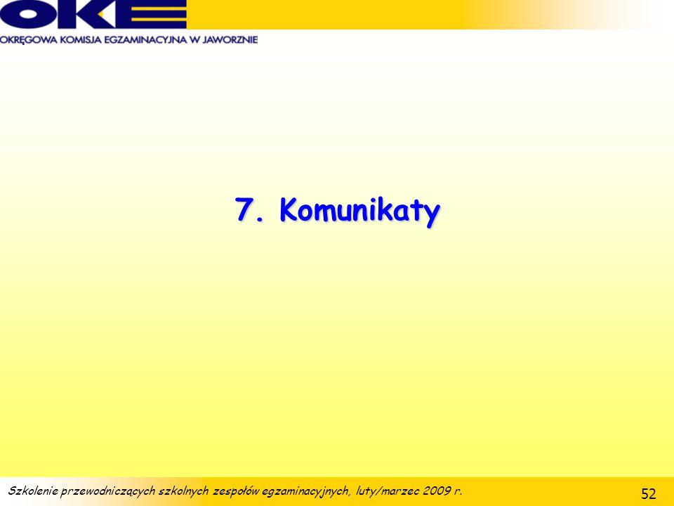Szkolenie przewodniczących szkolnych zespołów egzaminacyjnych, luty/marzec 2009 r. 52 7. Komunikaty