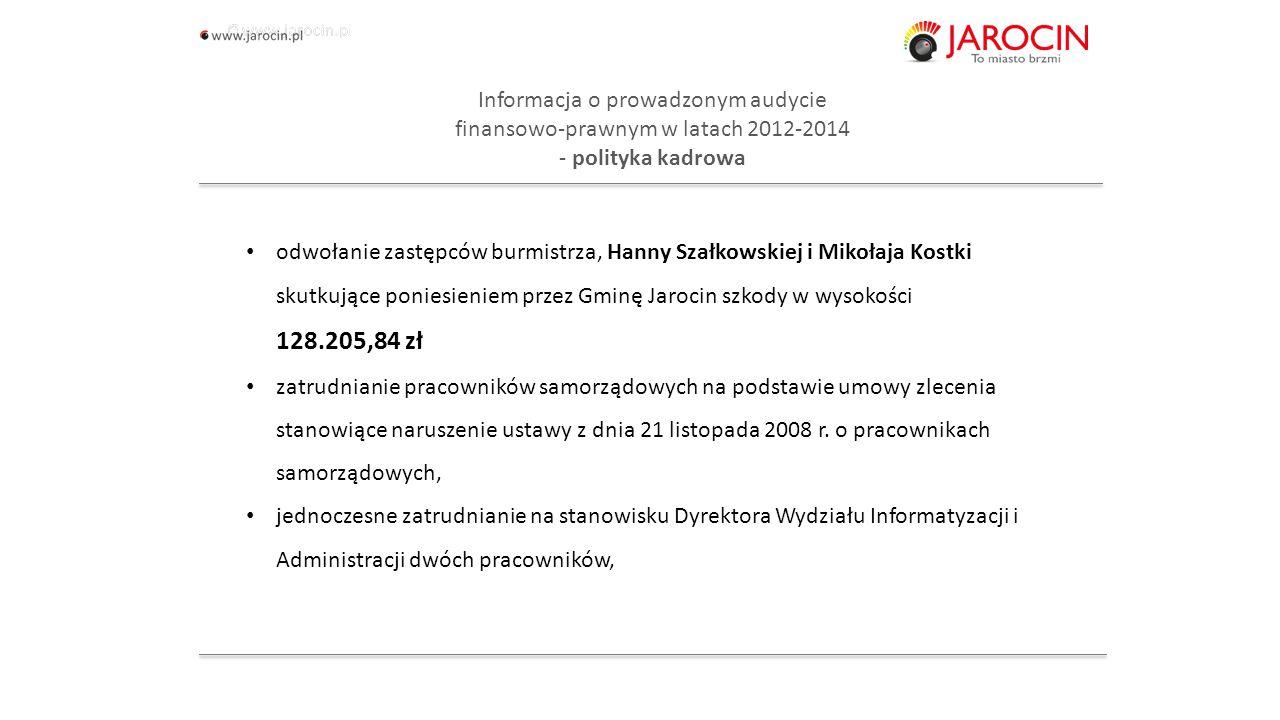 10.10.2020_jarocin Informacja o prowadzonym audycie finansowo-prawnym w latach 2012-2014 - polityka kadrowa odwołanie zastępców burmistrza, Hanny Szałkowskiej i Mikołaja Kostki skutkujące poniesieniem przez Gminę Jarocin szkody w wysokości 128.205,84 zł zatrudnianie pracowników samorządowych na podstawie umowy zlecenia stanowiące naruszenie ustawy z dnia 21 listopada 2008 r.