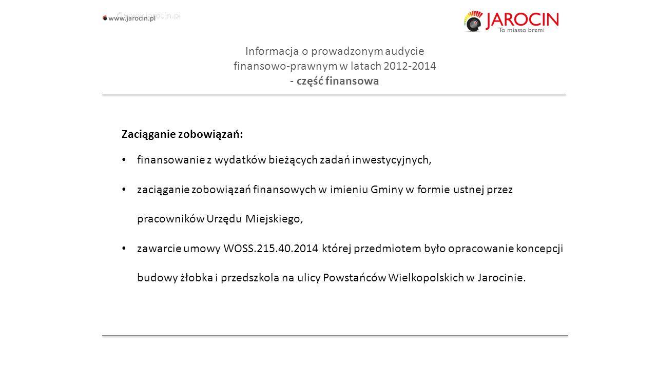 10.10.2020_jarocin Informacja o prowadzonym audycie finansowo-prawnym w latach 2012-2014 - Urząd Miejski w Jarocinie Dziękuję za uwagę.