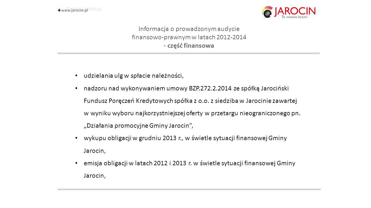 10.10.2020_jarocin Informacja o prowadzonym audycie finansowo-prawnym w latach 2012-2014 - Urząd Miejski w Jarocinie Część formalno-prawna - zamówienia publiczne