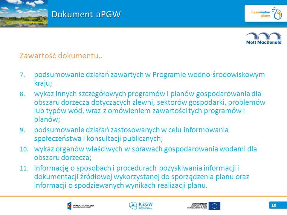 7.podsumowanie działań zawartych w Programie wodno-środowiskowym kraju; 8.