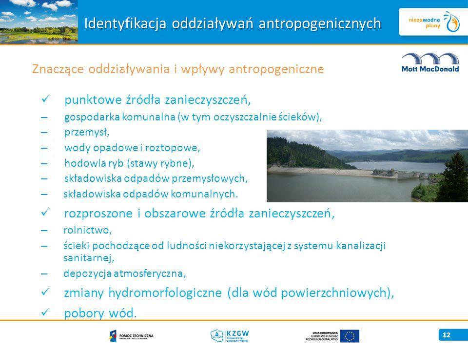 12 Znaczące oddziaływania i wpływy antropogeniczne Identyfikacja oddziaływań antropogenicznych punktowe źródła zanieczyszczeń, – gospodarka komunalna (w tym oczyszczalnie ścieków), – przemysł, – wody opadowe i roztopowe, – hodowla ryb (stawy rybne), – składowiska odpadów przemysłowych, – składowiska odpadów komunalnych.