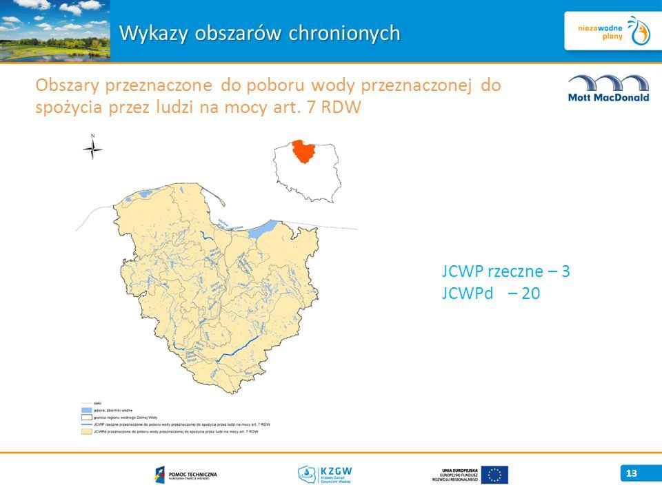 Wykazy obszarów chronionych 13 Obszary przeznaczone do poboru wody przeznaczonej do spożycia przez ludzi na mocy art.