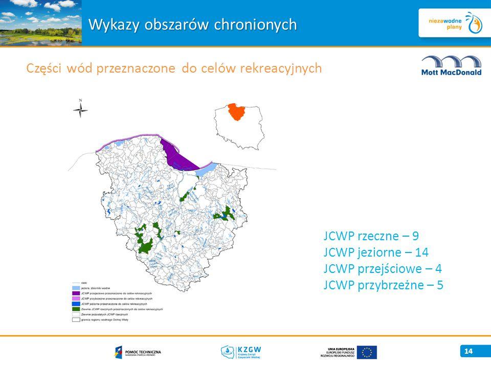 14 Części wód przeznaczone do celów rekreacyjnych Wykazy obszarów chronionych JCWP rzeczne – 9 JCWP jeziorne – 14 JCWP przejściowe – 4 JCWP przybrzeżne – 5