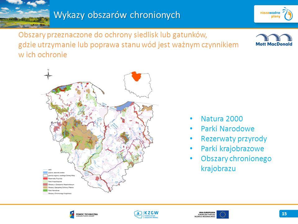 15 Wykazy obszarów chronionych Natura 2000 Parki Narodowe Rezerwaty przyrody Parki krajobrazowe Obszary chronionego krajobrazu Obszary przeznaczone do ochrony siedlisk lub gatunków, gdzie utrzymanie lub poprawa stanu wód jest ważnym czynnikiem w ich ochronie