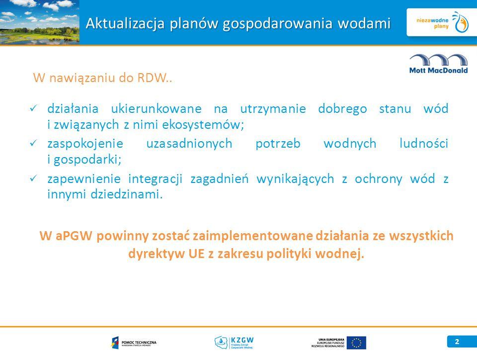 spójność z przyjętą strategią i kierunkami rozwoju w dziedzinie polityki wodnej; jednorodna sprawozdawczość do KE; integralność zapisów w dokumentach programowych warunkujących przyznawanie środków UE.