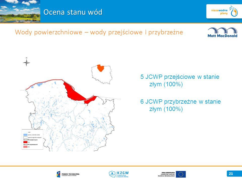 21 5 JCWP przejściowe w stanie złym (100%) 6 JCWP przybrzeżne w stanie złym (100%) Ocena stanu wód Wody powierzchniowe – wody przejściowe i przybrzeżne