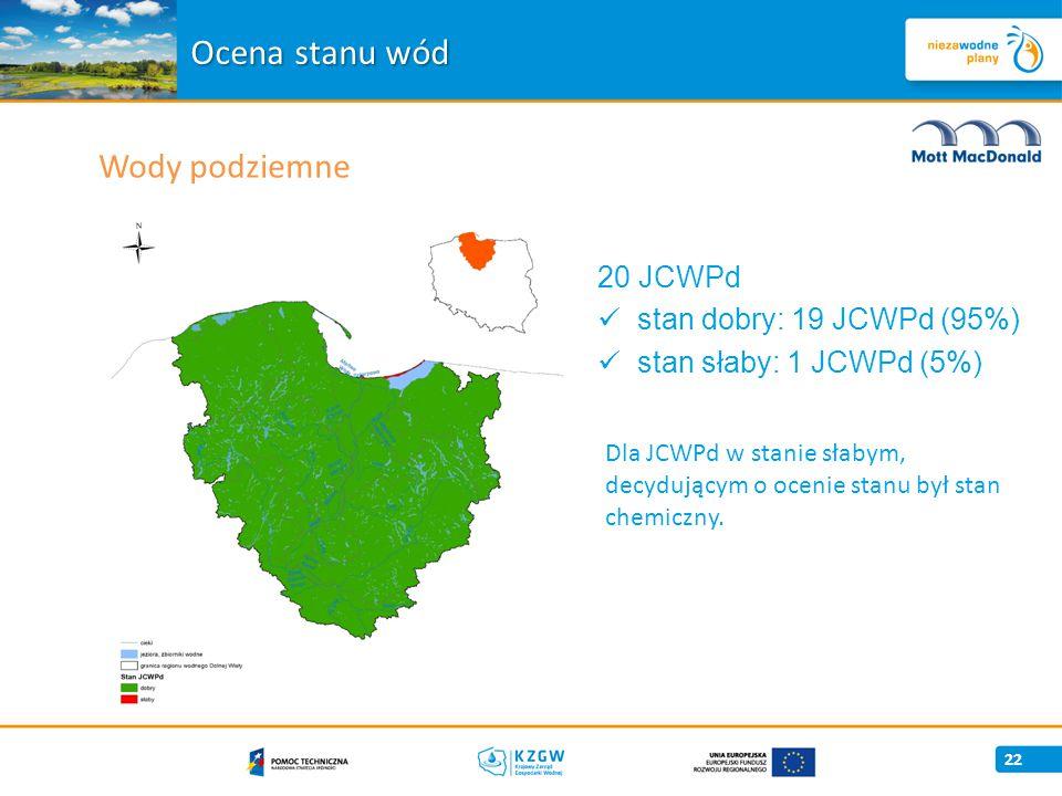Wody podziemne 22 Ocena stanu wód Dla JCWPd w stanie słabym, decydującym o ocenie stanu był stan chemiczny.