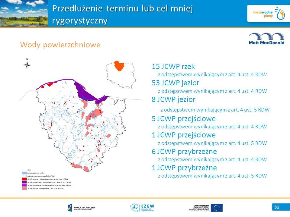 Przedłużenie terminu lub cel mniej rygorystyczny 31 Wody powierzchniowe 15 JCWP rzek z odstępstwem wynikającym z art.