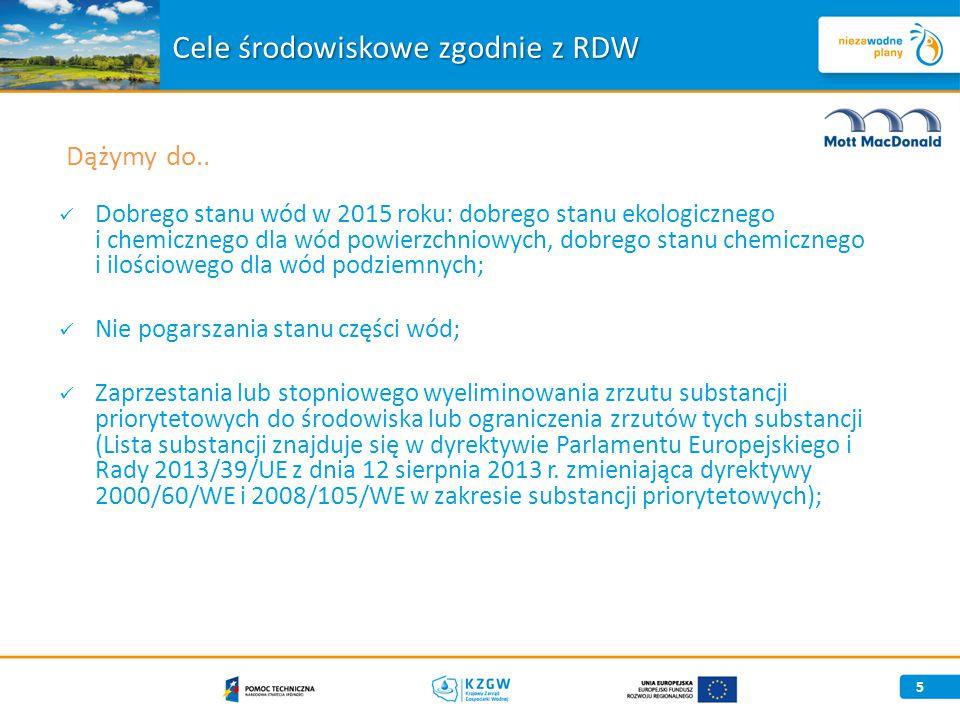 Dobrego stanu wód w 2015 roku: dobrego stanu ekologicznego i chemicznego dla wód powierzchniowych, dobrego stanu chemicznego i ilościowego dla wód podziemnych; Nie pogarszania stanu części wód; Zaprzestania lub stopniowego wyeliminowania zrzutu substancji priorytetowych do środowiska lub ograniczenia zrzutów tych substancji (Lista substancji znajduje się w dyrektywie Parlamentu Europejskiego i Rady 2013/39/UE z dnia 12 sierpnia 2013 r.