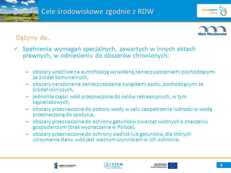 27 Ryzyko nieosiągnięcia celów środowiskowych Wody podziemne 6 JCWPd (30%) zagrożonych nieosiągnięciem celów środowiskowych