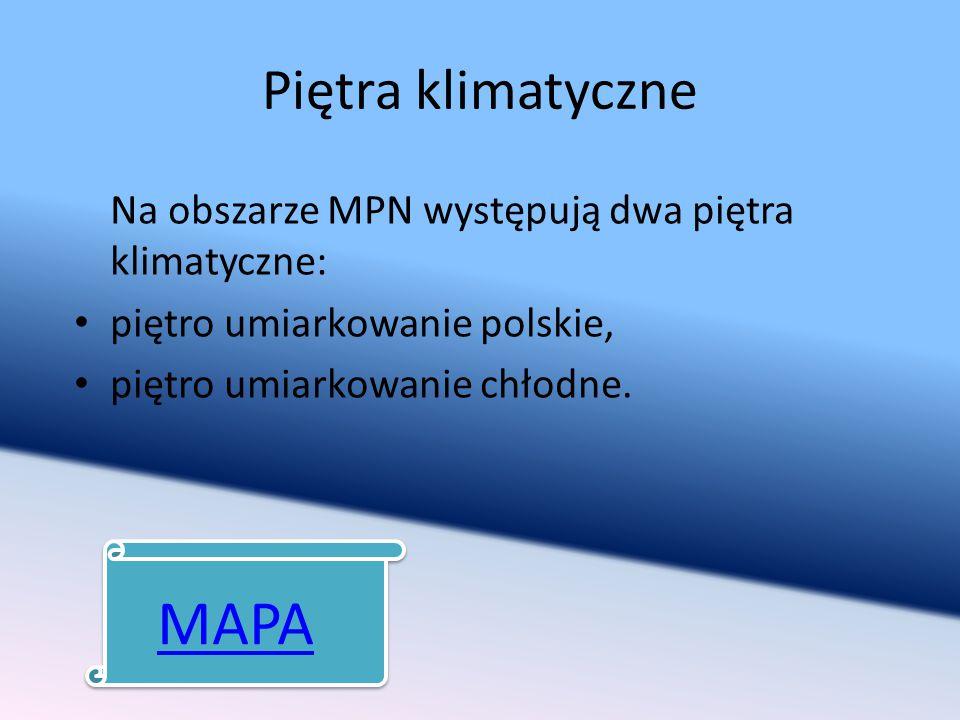 Piętra klimatyczne Na obszarze MPN występują dwa piętra klimatyczne: piętro umiarkowanie polskie, piętro umiarkowanie chłodne. MAPA