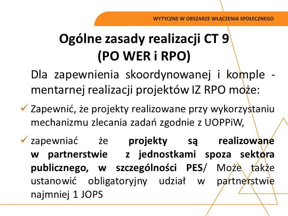 Ogólne zasady realizacji CT 9 (PO WER i RPO) Dla zapewnienia skoordynowanej i komple - mentarnej realizacji projektów IZ RPO może: Zapewnić, że projek