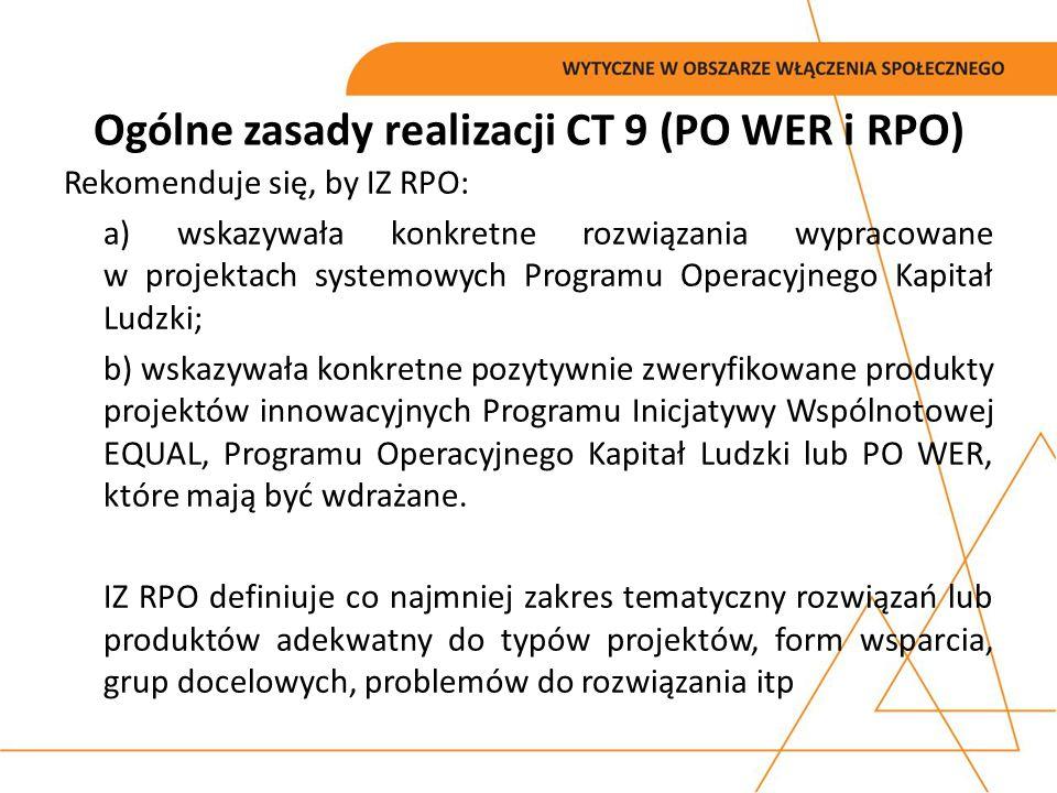 Rekomenduje się, by IZ RPO: a) wskazywała konkretne rozwiązania wypracowane w projektach systemowych Programu Operacyjnego Kapitał Ludzki; b) wskazywa