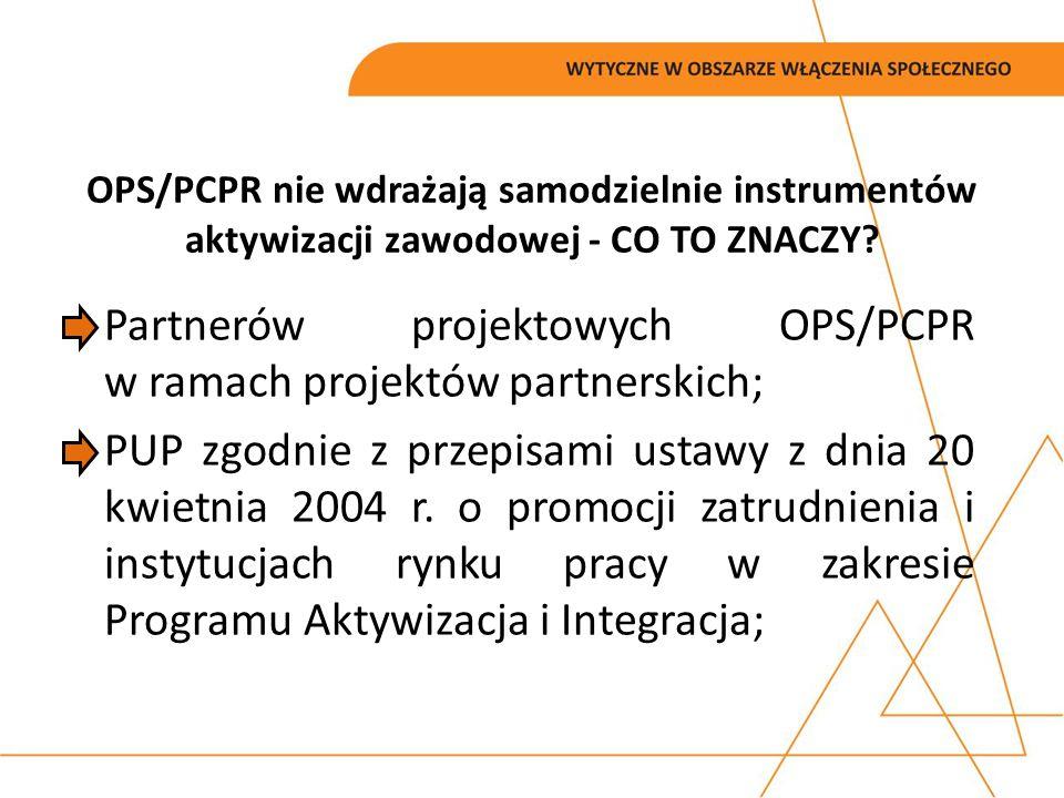 Partnerów projektowych OPS/PCPR w ramach projektów partnerskich; PUP zgodnie z przepisami ustawy z dnia 20 kwietnia 2004 r. o promocji zatrudnienia i