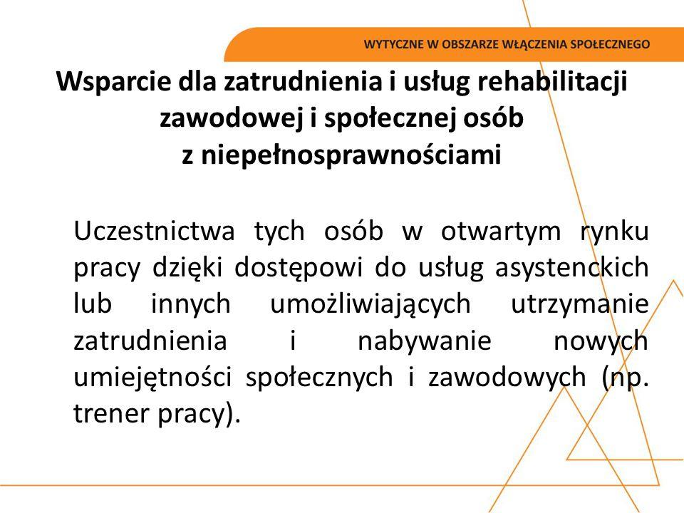 Wsparcie dla zatrudnienia i usług rehabilitacji zawodowej i społecznej osób z niepełnosprawnościami Uczestnictwa tych osób w otwartym rynku pracy dzię