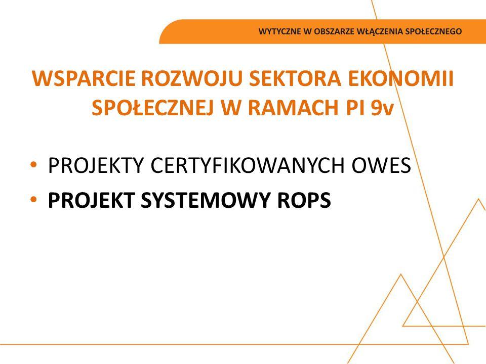WSPARCIE ROZWOJU SEKTORA EKONOMII SPOŁECZNEJ W RAMACH PI 9v PROJEKTY CERTYFIKOWANYCH OWES PROJEKT SYSTEMOWY ROPS