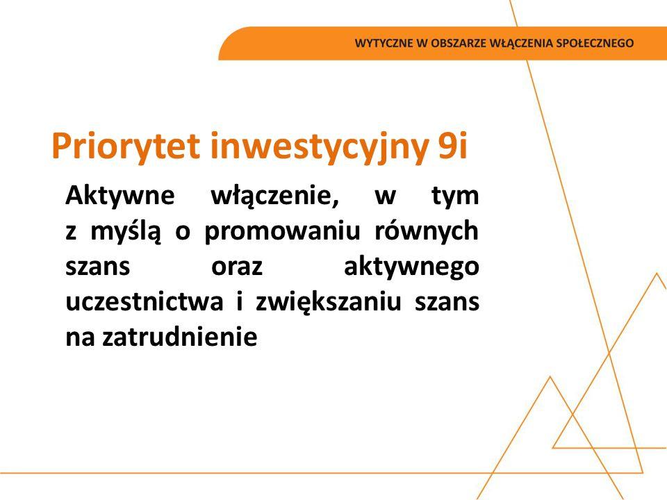Priorytet inwestycyjny 9i Aktywne włączenie, w tym z myślą o promowaniu równych szans oraz aktywnego uczestnictwa i zwiększaniu szans na zatrudnienie