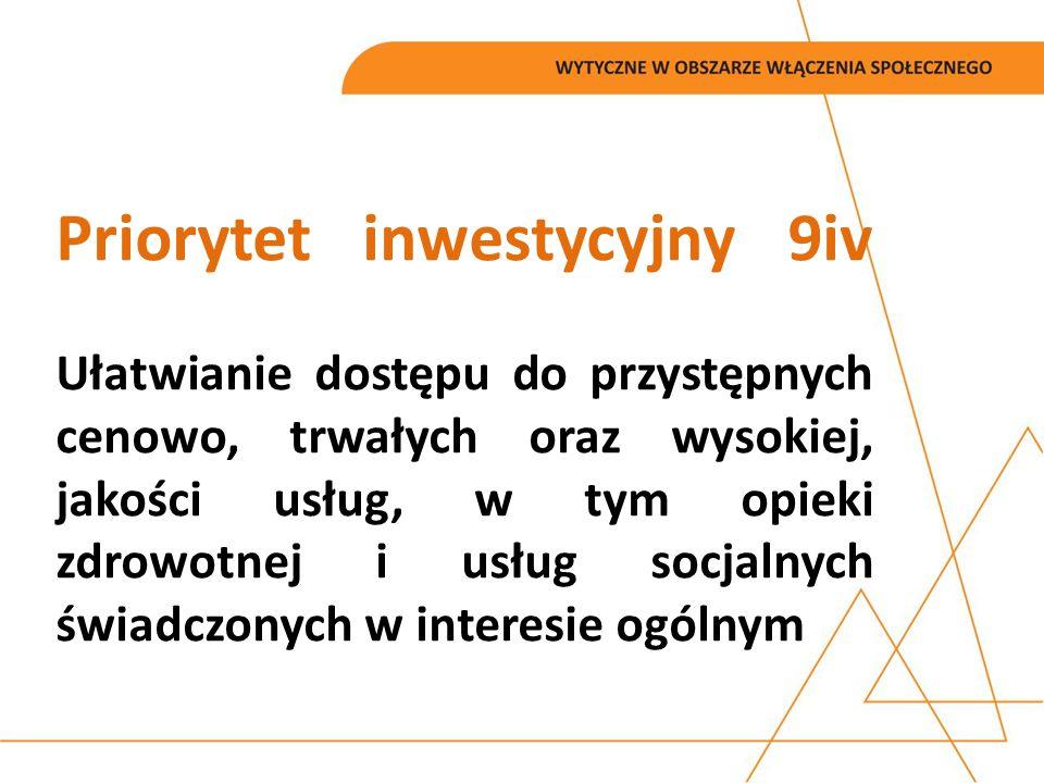 Priorytet inwestycyjny 9iv Ułatwianie dostępu do przystępnych cenowo, trwałych oraz wysokiej, jakości usług, w tym opieki zdrowotnej i usług socjalnyc