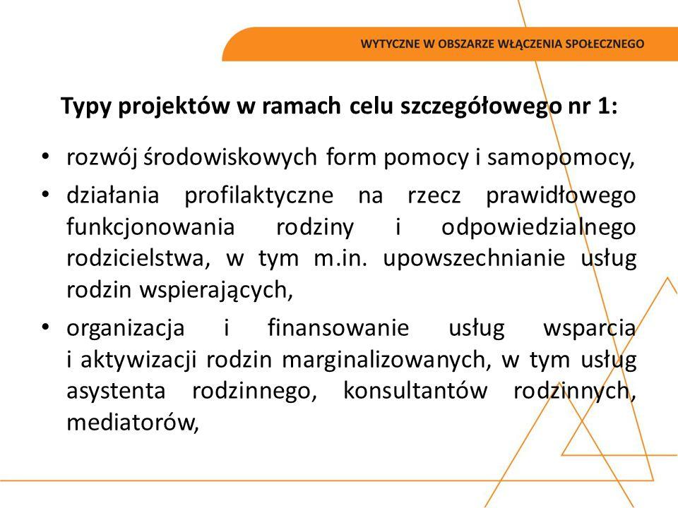 Typy projektów w ramach celu szczegółowego nr 1: rozwój środowiskowych form pomocy i samopomocy, działania profilaktyczne na rzecz prawidłowego funkcj