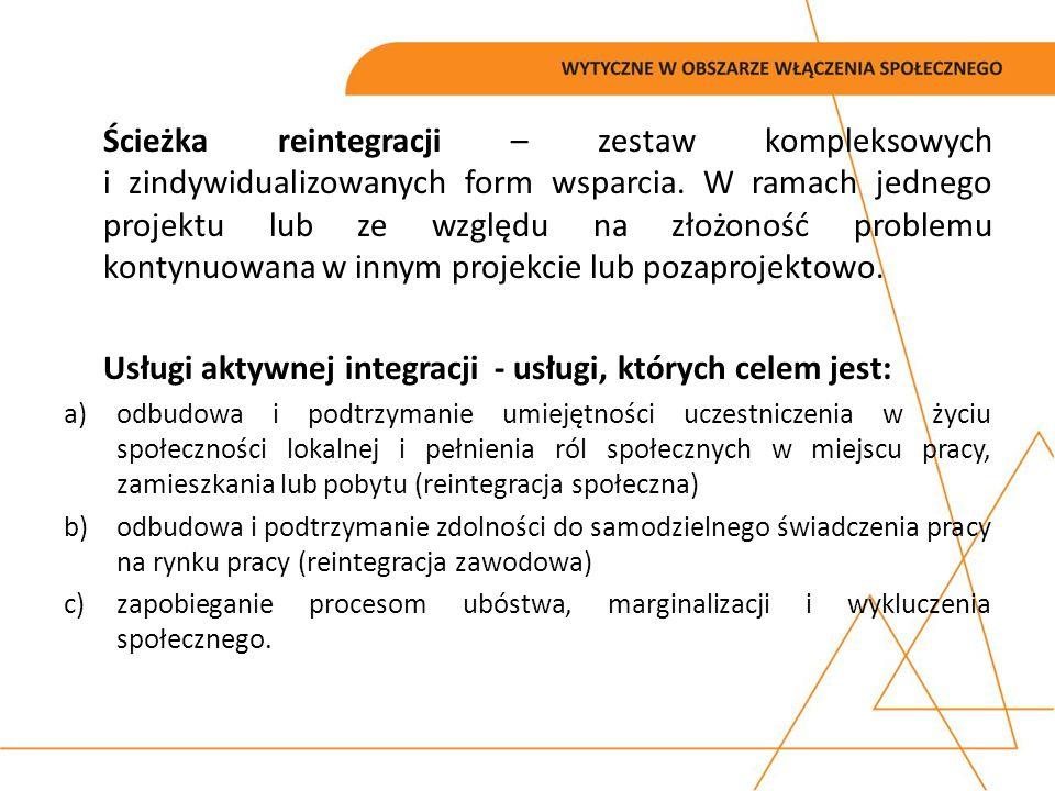 Ścieżka reintegracji – zestaw kompleksowych i zindywidualizowanych form wsparcia. W ramach jednego projektu lub ze względu na złożoność problemu konty