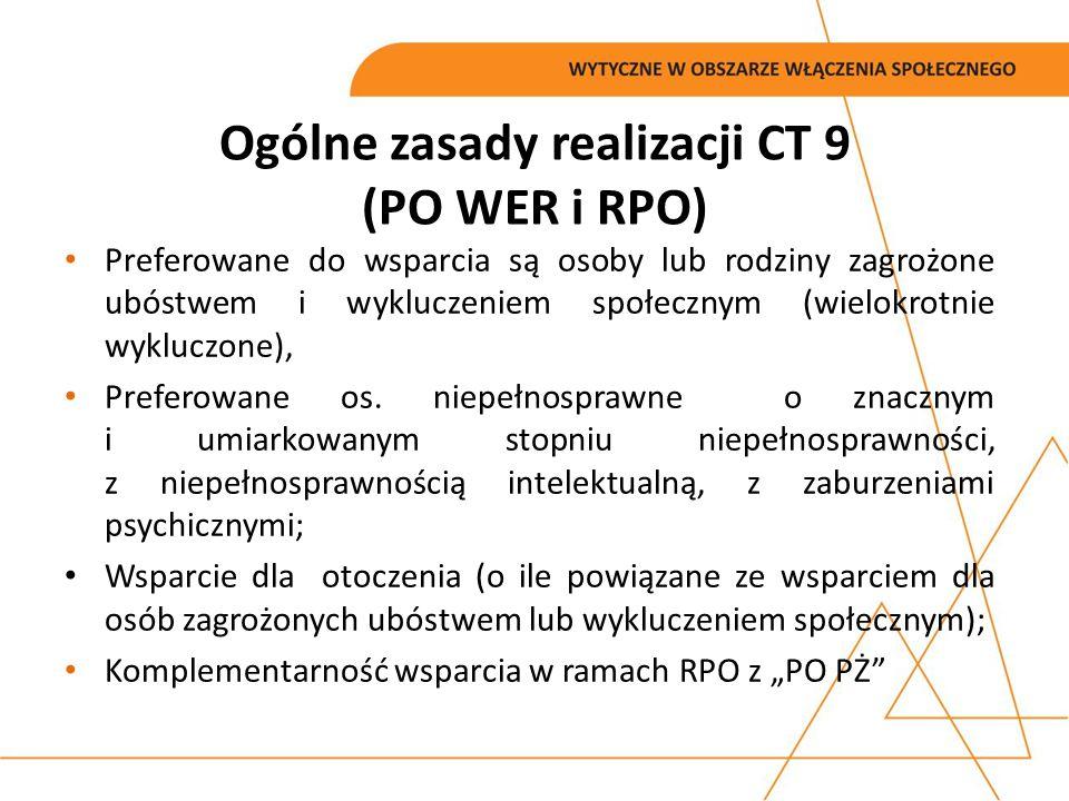 Ogólne zasady realizacji CT 9 (PO WER i RPO) Rozgraniczenie pomiędzy CT 8 a CT 9 w zakresie wsparcia osób bezrobotnych, Wsparcie dla więźniów tylko w ramach POWER, Świadczenia bierne w postaci zasiłków mogą być uznane za wkład własny,