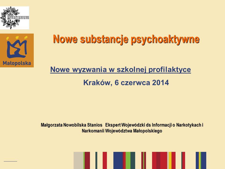 Nowe substancje psychoaktywne Nowe substancje psychoaktywne Nowe wyzwania w szkolnej profilaktyce Kraków, 6 czerwca 2014 Małgorzata Nowobilska Stanios