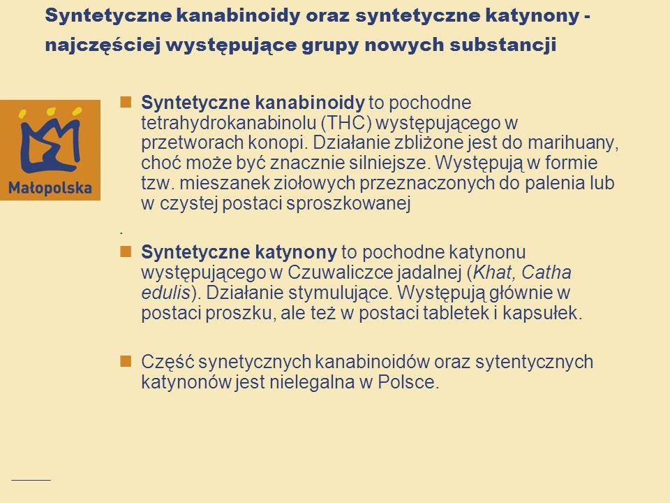 Syntetyczne kanabinoidy oraz syntetyczne katynony - najczęściej występujące grupy nowych substancji Syntetyczne kanabinoidy to pochodne tetrahydrokana
