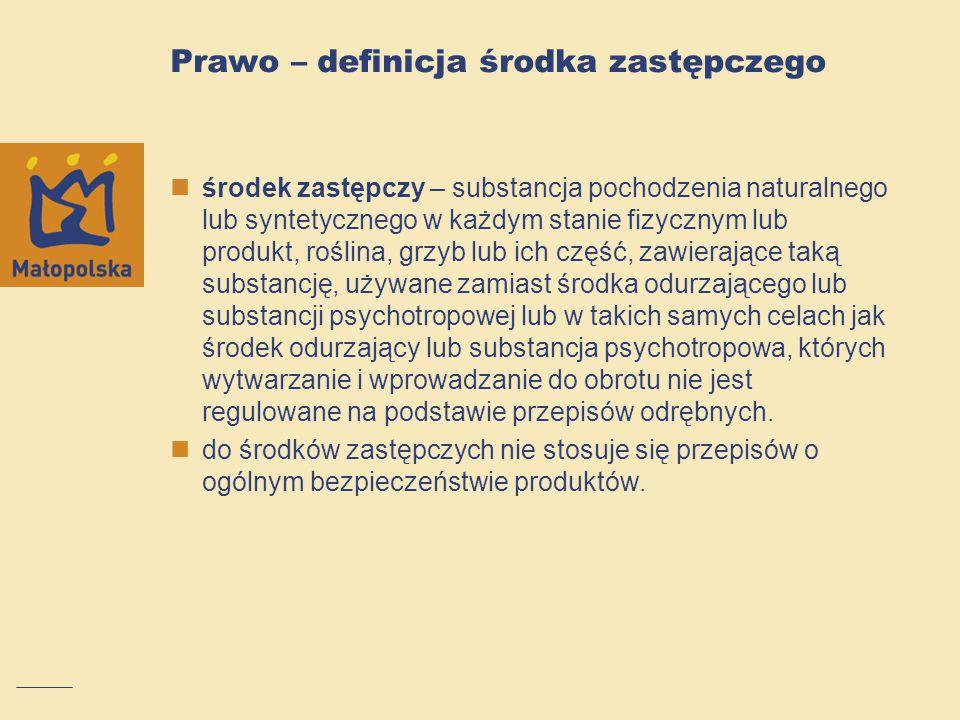 Prawo – definicja środka zastępczego środek zastępczy – substancja pochodzenia naturalnego lub syntetycznego w każdym stanie fizycznym lub produkt, ro
