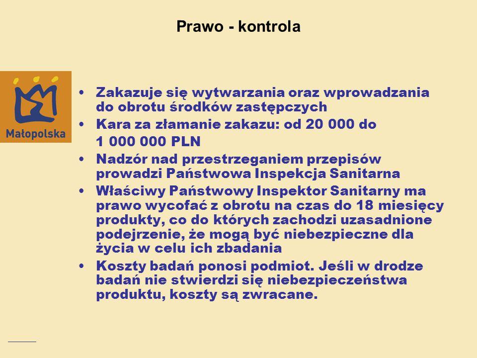 Prawo - kontrola Zakazuje się wytwarzania oraz wprowadzania do obrotu środków zastępczych Kara za złamanie zakazu: od 20 000 do 1 000 000 PLN Nadzór n