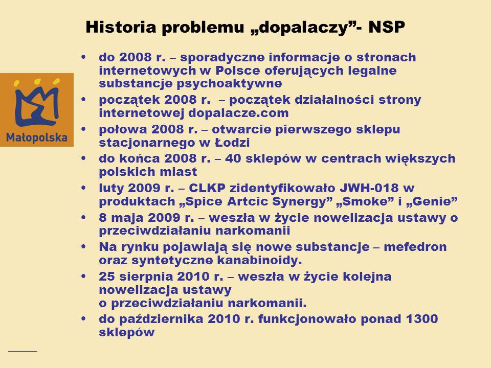 """Historia problemu """"dopalaczy""""- NSP do 2008 r. – sporadyczne informacje o stronach internetowych w Polsce oferujących legalne substancje psychoaktywne"""