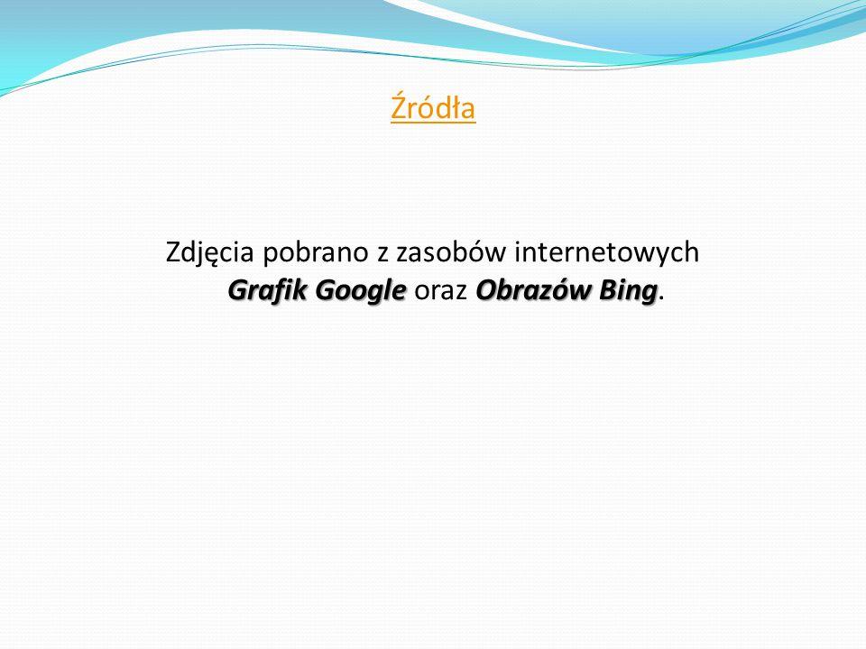 Źródła Grafik Google Obrazów Bing Zdjęcia pobrano z zasobów internetowych Grafik Google oraz Obrazów Bing.