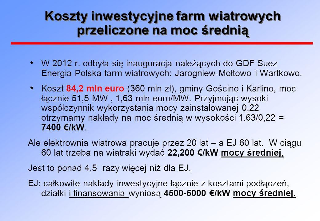 Koszty inwestycyjne farm wiatrowych przeliczone na moc średnią  W 2012 r. odbyła się inauguracja należących do GDF Suez Energia Polska farm wiatrowyc