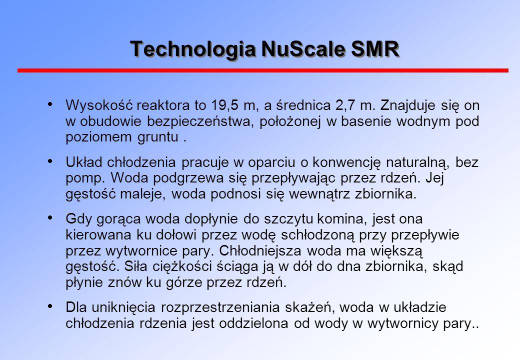 Technologia NuScale SMR  Wysokość reaktora to 19,5 m, a średnica 2,7 m. Znajduje się on w obudowie bezpieczeństwa, położonej w basenie wodnym pod poz