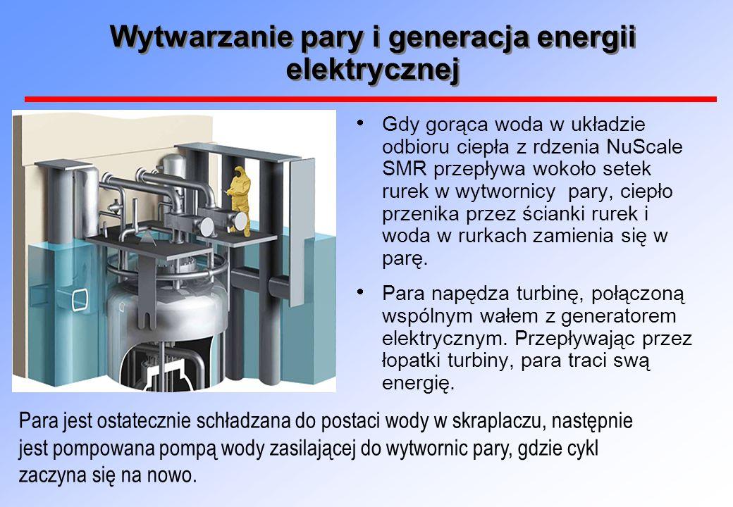 Wytwarzanie pary i generacja energii elektrycznej  Gdy gorąca woda w układzie odbioru ciepła z rdzenia NuScale SMR przepływa wokoło setek rurek w wytwornicy pary, ciepło przenika przez ścianki rurek i woda w rurkach zamienia się w parę.