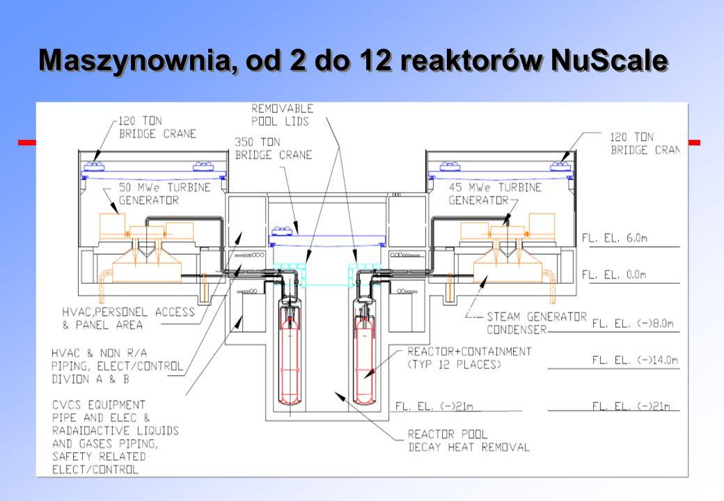 Maszynownia, od 2 do 12 reaktorów NuScale